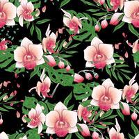 Vectorhand getrokken naadloos patroon met gestileerde orchideetak voor uw ontwerp op de zwarte achtergrond