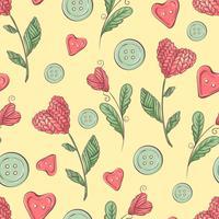 Leuk naadloos patroon van ballen van garen, knopen, strengen van garen of het breien en het haken.