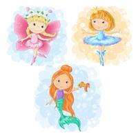 Mooi beeldverhaalmeisje in verschillende kostuumsvlinder, ballerina en een meermin. Vector