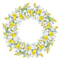 Heldere lente krans met narcissen en vergeet-mij-nietjes. Vector illustratie.