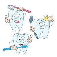 Kunst over het onderwerp kindertandheelkunde. Leuke cartoon gezonde en mooie tanden. vector