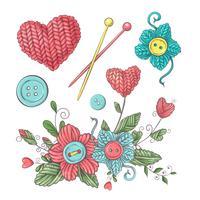 Instellen voor handgemaakte gebreide bloemen en elementen en accessoires voor haken en breien. vector