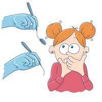 Kunst over het onderwerp kindertandheelkunde. Het meisje bij de receptie bij de tandarts.