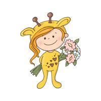 Mooi meisje in een giraffekostuum met een boeket van bloemen.