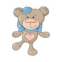 Beeldverhaal leuke teddybeer in een hoed met een blauwe boog.