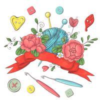 Instellen voor handgemaakte logo sjabloon, elementen en accessoires voor haken en breien. vector
