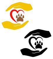 concept van bescherming en liefde van dieren vectorillustratie vector