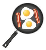 gebakken eieren met spek in een koekenpan vectorillustratie