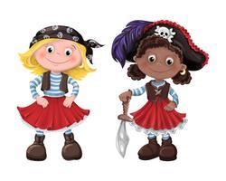 Schattig meisje piraat vector illustratie