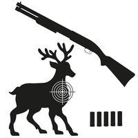 jachtgeweer en doel op een hert zwart silhouet vectorillustratie