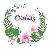 Bloemen ontwerpkader. Orchidee, eucalyptus, groen. Trouwkaart.