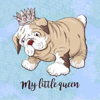 Happy cartoon puppy hondje, portret van schattige kleine hond kraag dragen. vector