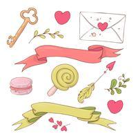 Verzameling van cute cartoon items voor Valentijnsdag met accessoires.