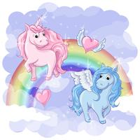 Fantastische ansichtkaart met Pegasus en Unicorn