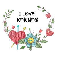 Eenvoudige illustratie met breinaald, breien en Engelse tekst. Ik hou van breien, posterontwerp. Kleurrijke achtergrond.