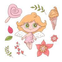 Set van cute cartoon engelen voor Valentijnsdag met accessoires vector