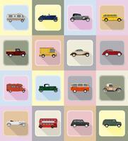 oude retro vervoer plat pictogrammen vector illustratie