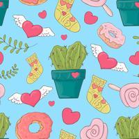 Valentine's Day naadloze patronen. Set van liefde en romantische achtergronden