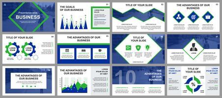Bedrijfspresentatie schuift sjablonen van infographic elementen. Kan worden gebruikt voor presentatiesjabloon, flyer en folder, brochure, bedrijfsrapport, marketing, reclame, jaarverslag, banner.