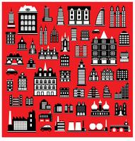 Huizen in het rood vector