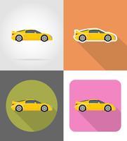 sportwagen plat pictogrammen vector illustratie