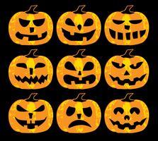 Set van halloween pompoenen vector