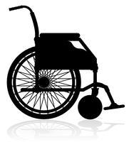 rolstoel zwart silhouet vectorillustratie