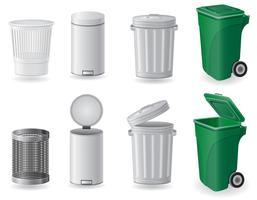 vuilnisbak en vuilnisbak ingesteld pictogrammen vector illustratie