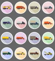 vrachtwagen plat pictogrammen vector illustratie