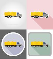 vrachtwagen met tank voor het vervoer van vloeistoffen plat pictogrammen vector illustratie