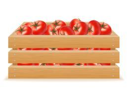 houten kist van tomaat vectorillustratie