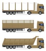vrachtwagen oplegger voor transport van goederen vectorillustratie vector