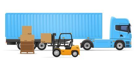 vrachtwagen oplegger voor transport van goederen concept vectorillustratie