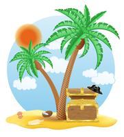 kist van goud staande onder een palmboom vectorillustratie