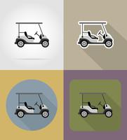golf auto plat pictogrammen vector illustratie
