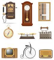 set van veel objecten retro oude vintage iconen stock vectorillustratie vector