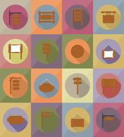 houten plank plat pictogrammen vector illustratie