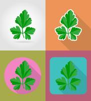 peterselie plantaardige plat pictogrammen met de schaduw vectorillustratie
