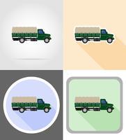 vrachtvrachtwagen voor transport van goederen plat pictogrammen vector illustratie