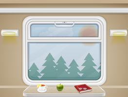 raam en tafel in de vector van het treincoupé