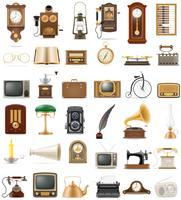 grote reeks van veel objecten retro oude vintage iconen voorraad vectorillustratie