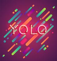 Neongewoord op kleurrijke achtergrond, vectorillustratie