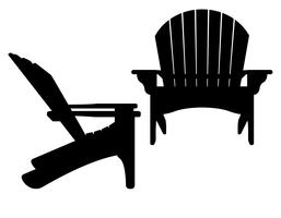 strand of tuin fauteuil zwarte contour silhouet vectorillustratie