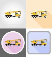 vrachtwagen met kraan voor het opheffen van goederen plat pictogrammen vector illustratie