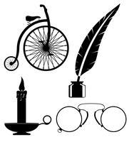objecten oude retro vintage pictogram stock vectorillustratie vector
