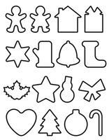 Kerst objecten lijn iconen vector illustratie