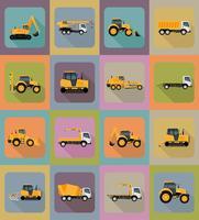 auto vervoer voor reparatie en bouw plat pictogrammen vector illustratie