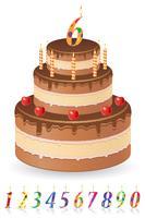 chocolade verjaardagstaart met nummers van leeftijd vectorillustratie