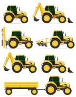 stel pictogrammen gele tractoren vectorillustratie