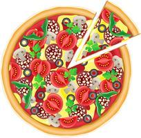 pizza en snijd stuk vectorillustratie